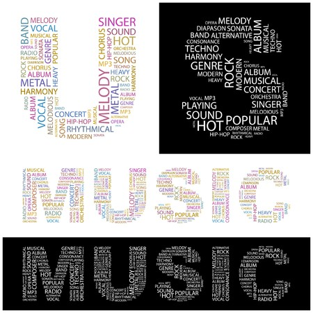 duet: MUSIC. Word collage.  illustration.