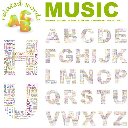 MUSIC.  letter collection. Word cloud illustration.   Vector
