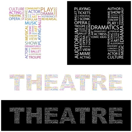 theatrics: THEATRE. Word collage.  illustration.