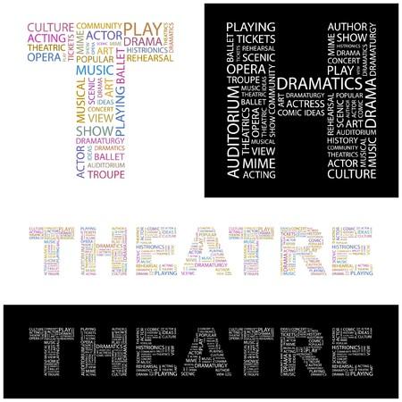 예행 연습: THEATRE. Word collage.  illustration.