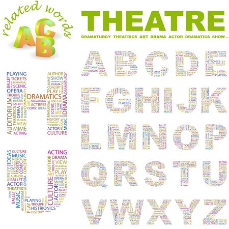 THEATRE. letter collection. Word cloud illustration.   Illustration