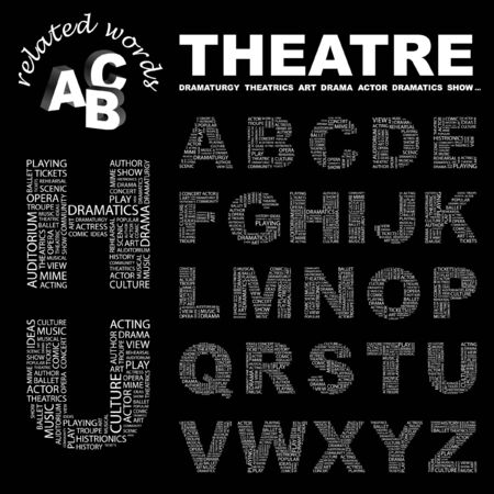 theatrics: THEATRE.  letter collection. Word cloud illustration.