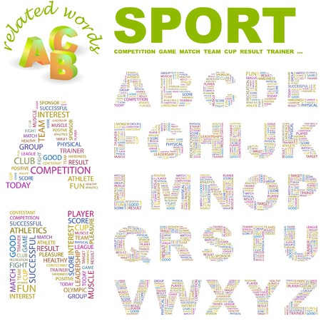 olympic game: SPORT. letter collection. Word cloud illustration.