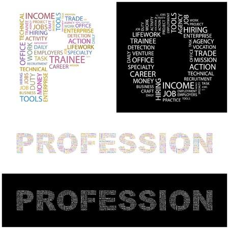 lifework: PROFESSION. Word collage.  illustration.    Illustration