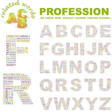 lifework: PROFESSION. letter collection. Word cloud illustration.   Illustration