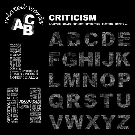 critique: CRITICISM.  letter collection. Word cloud illustration.