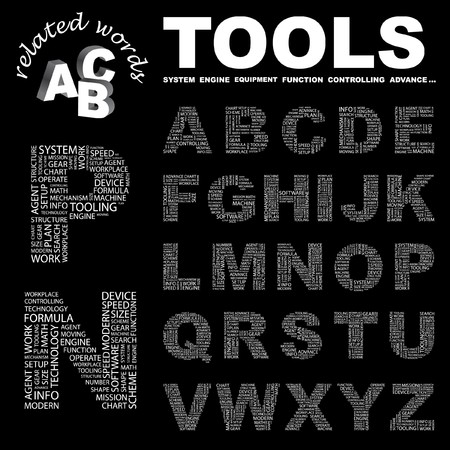 TOOLS. letter collection. Word cloud illustration.   Vector