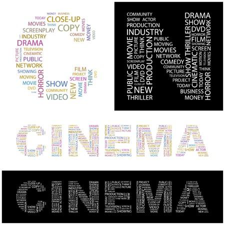 CINEMA. Word collage. illustration.