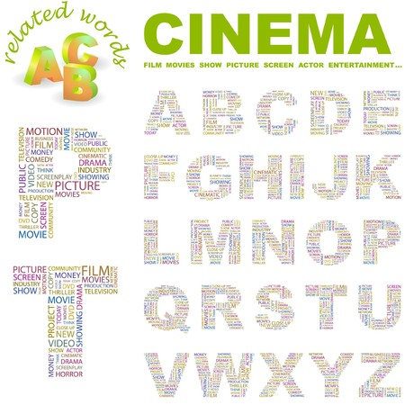 CINEMA. letter collection. Word cloud illustration.   Vector
