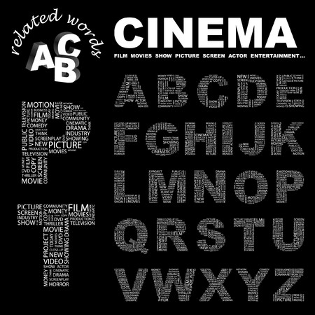 CINEMA. letter collection. Word cloud illustration.   Illustration
