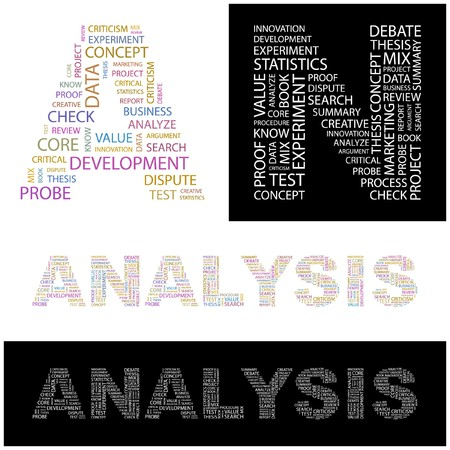 ANALYSIS. Word collage. illustration.    Stock Vector - 6914966