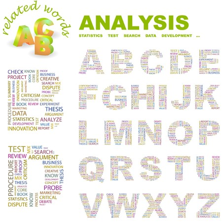 ANALYSIS. letter collection. Word cloud illustration.   Vector
