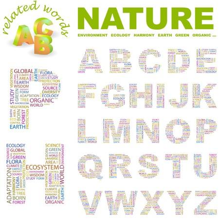 macrocosm: NATURE letter collection. Word cloud illustration.   Illustration