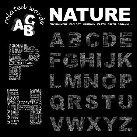 the humanities landscape: NATURE.  letter collection. Word cloud illustration.