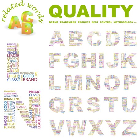 QUALITY letter collection. Word cloud illustration. Stock Vector - 6921549