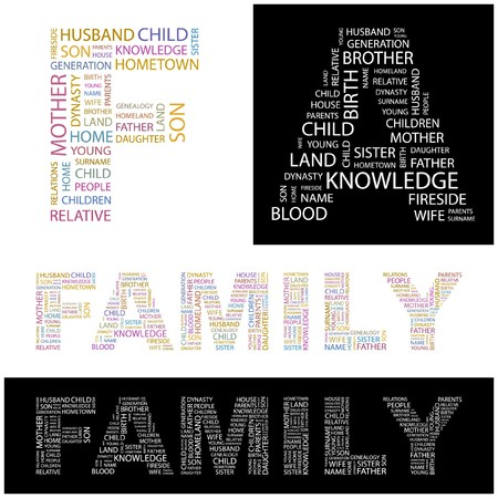 kindred: FAMILY. Word collage. illustration.
