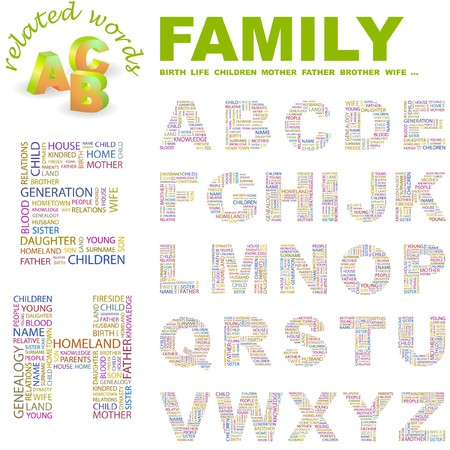 kindred: FAMILY.  letter collection. Word cloud illustration.