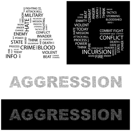 agressive: AGGRESSION. Word collage. illustration.    Illustration