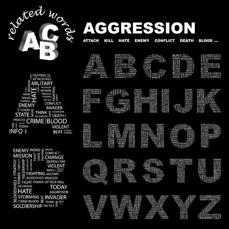 enmity: AGGRESSION.  letter collection. Word cloud illustration.