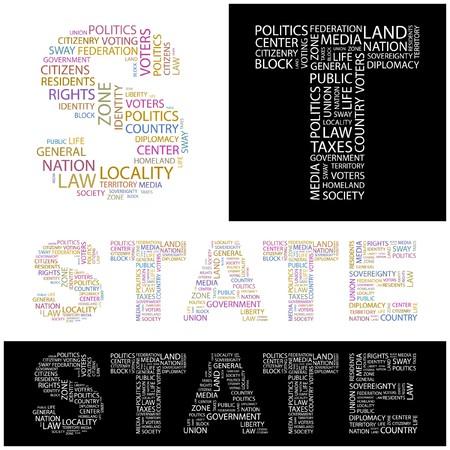 citizenry: ESTADO. Collage de Word. ilustraci�n.