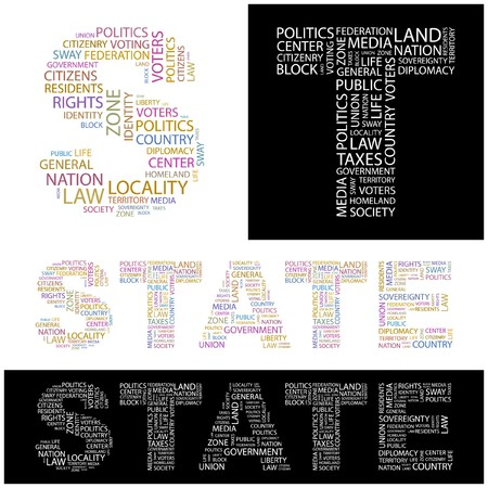 citizenry: STATE. Word collage.  illustration.