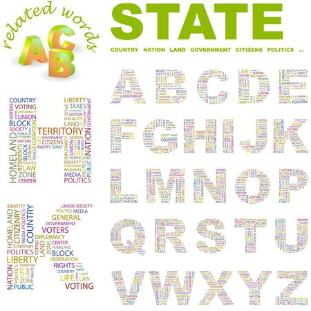 citizenry: STATE. letter collection. Word cloud illustration.