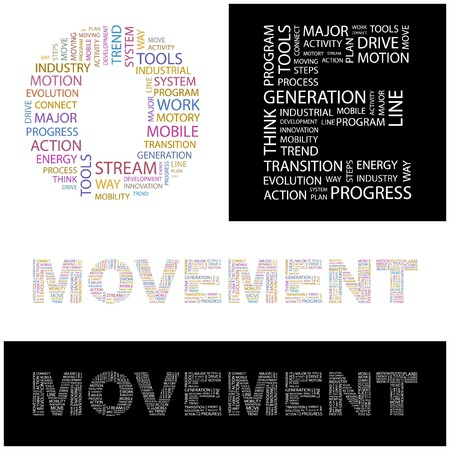 MOVEMENT. Word collage.  illustration.    Vector