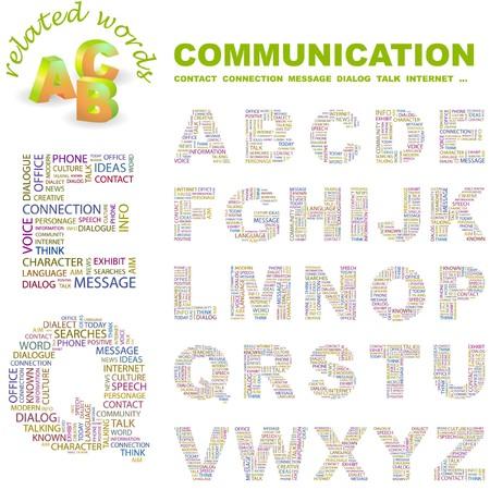 advisement: COMMUNICATION. letter collection. word cloud illustration.   Illustration