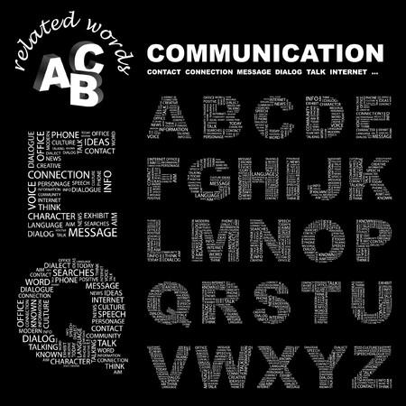 advisement: COMMUNICATION. letter collection. Word cloud illustration.