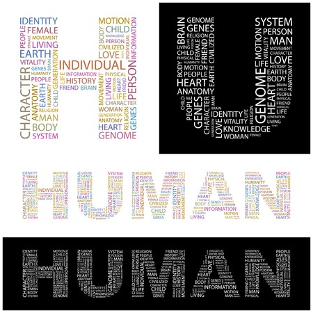 civilized: HUMAN. Word collage.  illustration.