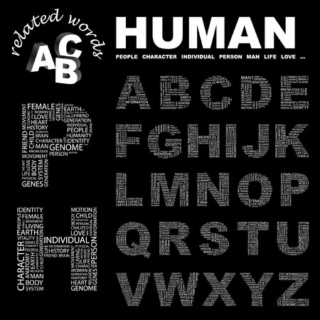 civilized: HUMAN.  letter collection. Word cloud illustration.