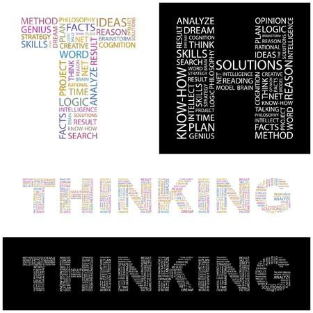 cogitate: THINKING. Word collage. illustration.    Illustration