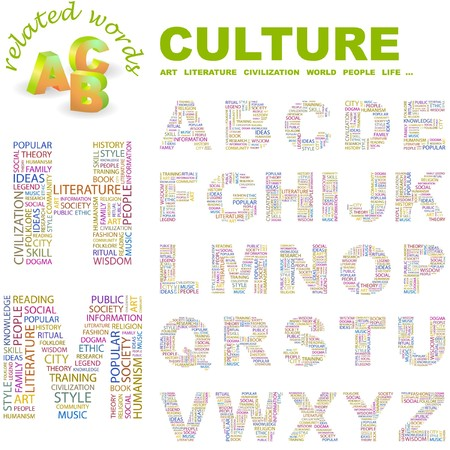 CULTURE.  letter collection. Word cloud illustration.   Vector