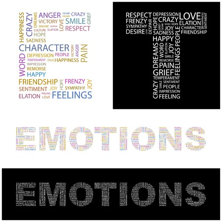 EMOTIONS. Word collage. illustration.    Vector