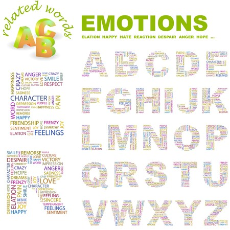 EMOTIONS.  letter collection. Word cloud illustration.   Vector