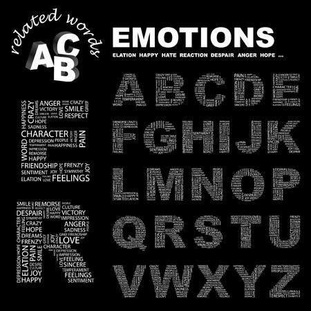 elation: EMOTIONS.  letter collection. Word cloud illustration.   Illustration