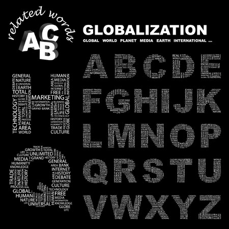 personality development: GLOBALIZATION.  letter collection. Word cloud illustration.   Illustration