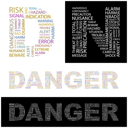 contingency: DANGER. Word collage. illustration.