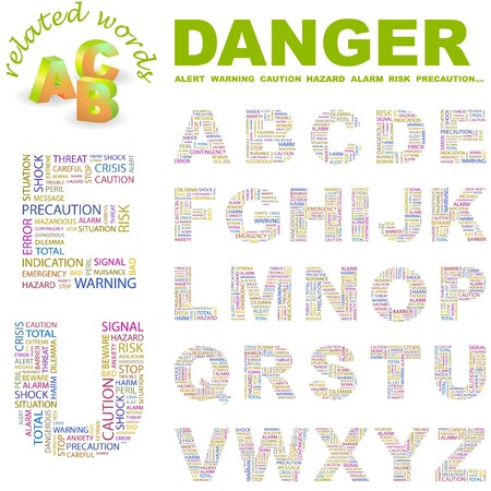 peril: DANGER.  letter collection. Word cloud illustration.
