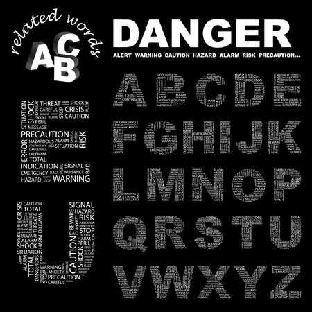 contingency: DANGER. letter collection. Word cloud illustration.   Illustration