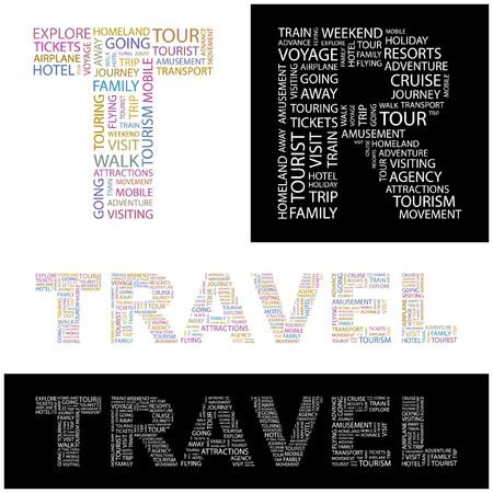 guia turistica: GASTOS DE VIAJE. Collage de Word. ilustraci�n.