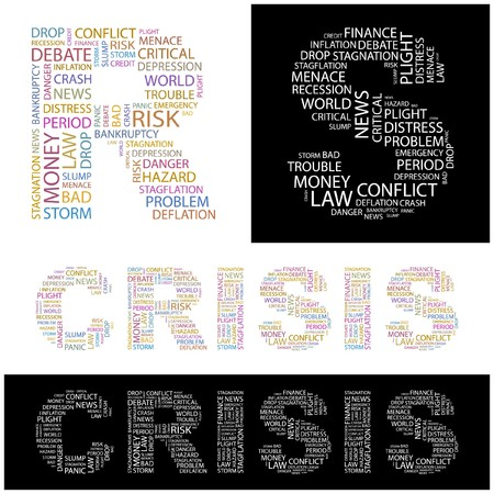 CRISIS. Word collage. illustration.    Vector