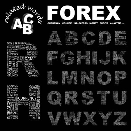 FOREX. letter collection. Word cloud illustration.   Vector