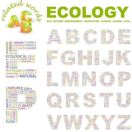 plenty: ECOLOGY.  letter collection. Word cloud illustration.