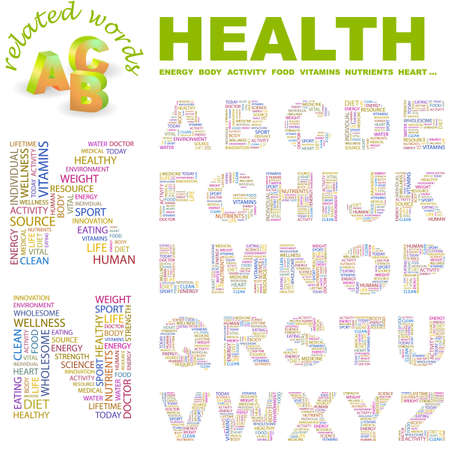 HEALTH. letter collection. Word cloud illustration.   Stock Vector - 6920431
