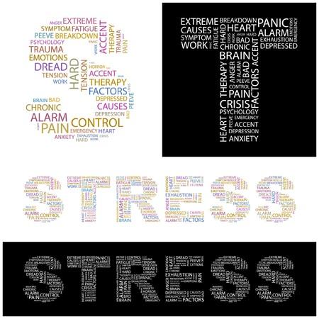 ストレス。コラージュを単語します。イラスト。