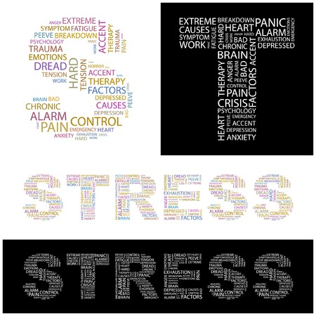 peeve: STRESS. Word collage.  illustration.