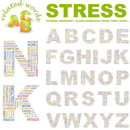 peeve: STRESS. letter collection. Word cloud illustration.   Illustration