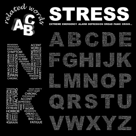 peeve: STRESS.  letter collection. Word cloud illustration.
