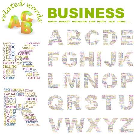 barter: BUSINESS.  letter collection. Word cloud illustration.
